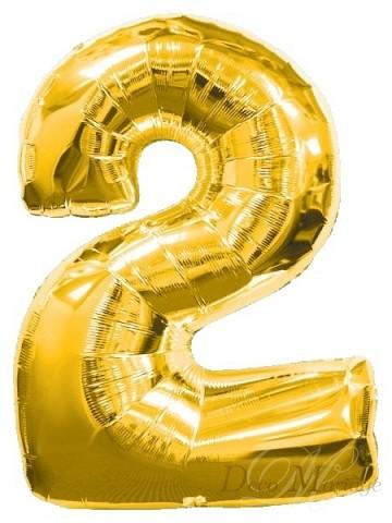 2852e1e1d8fa03 balon foliowy 100cm - FB1M ZŁOTY - cyfra 2 * balony na roczek i ...
