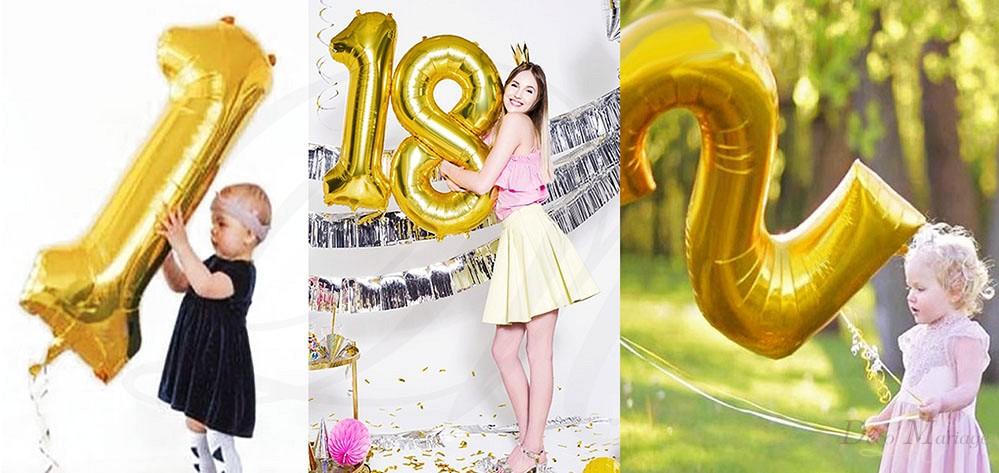 ef6417b2b086e0 balon foliowy 100cm - FB1M ZŁOTY - cyfra 3 * balony na roczek i ...