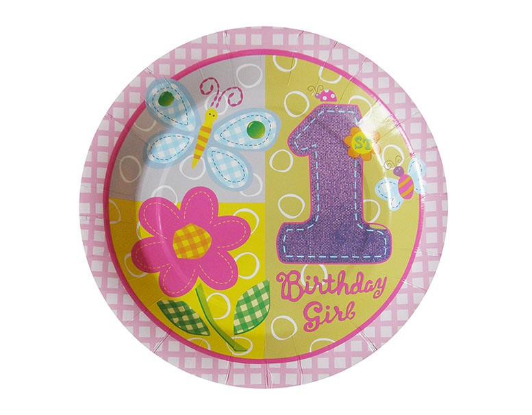 ab8748f398d044 DEC-Roczek - talerzyki 18cm różowe - 6 szt. * urodziny roczek ...