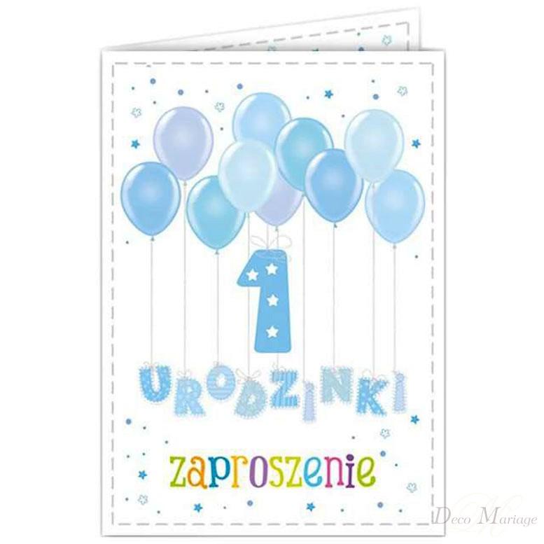 ef2ed5b3d58586 zaproszenie na roczek ZPR-B - baloniki niebieskie * zaproszenia na ...